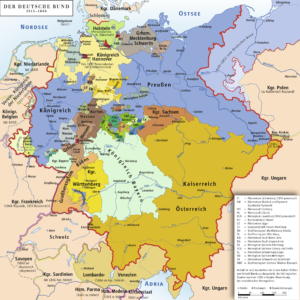 Map Of Zollverein Germany.German Dualism Prussian History